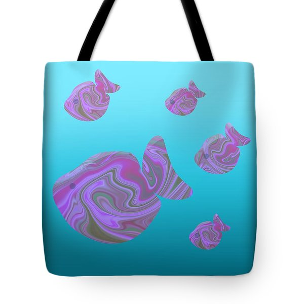 Tropical Fish In Pink Psychedelic Pattern Tote Bag