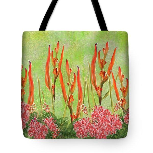 Tropical Floral Print Lime Green Batik Tote Bag