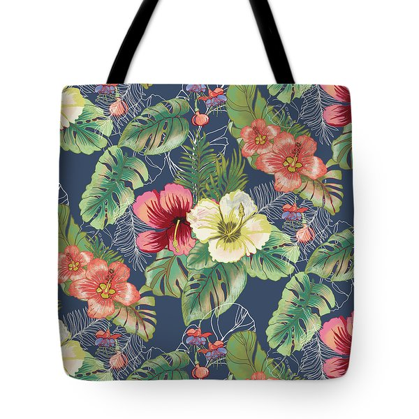 Tropical Floral Pattern Tote Bag