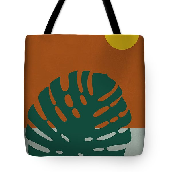 Tropical Leaf And Blue Moon Tote Bag