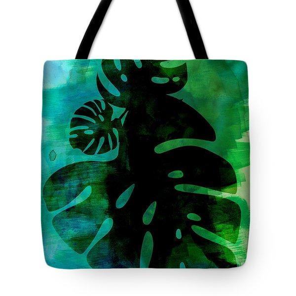 Tropical Monstera Leafs Watercolor Tote Bag
