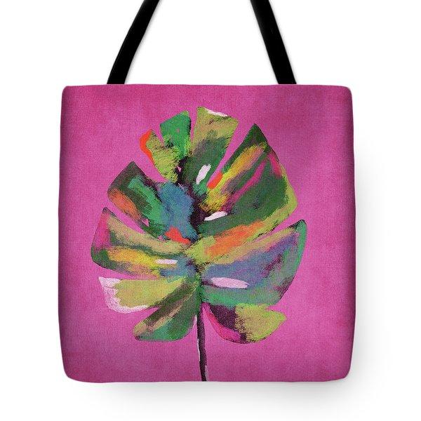 Tropical Palm Leaf Pink- Art By Linda Woods Tote Bag