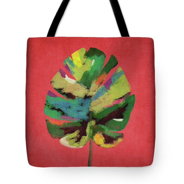 Tropical Palm Leaf Red- Art By Linda Woods Tote Bag