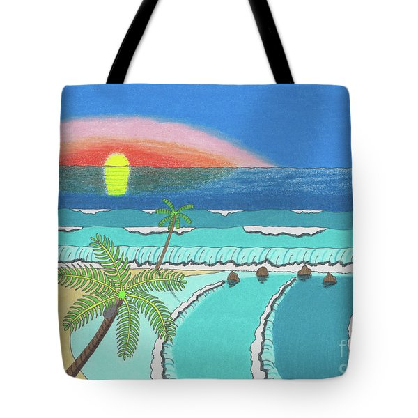 Tote Bag featuring the drawing Tropical Sunrise by John Wiegand