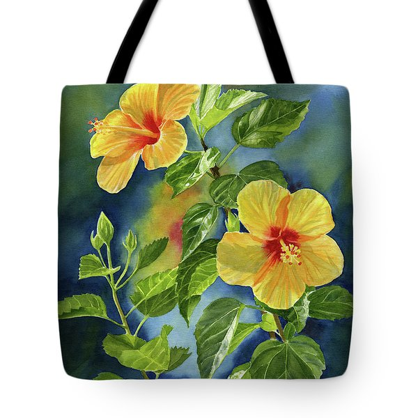 Tropical Yellow Orange Hibiscus With Background Tote Bag