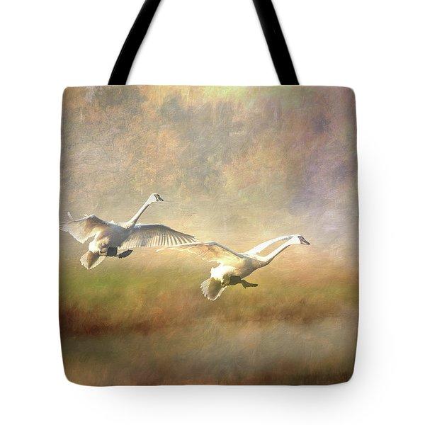 Trumpeter Swan Landing - Painterly Tote Bag