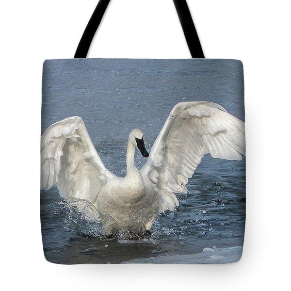 Trumpeter Swan Splash Tote Bag