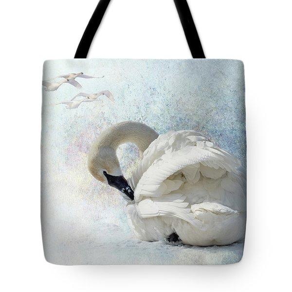 Trumpeter Textures #2 - Swan Preening Tote Bag