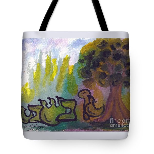 Tote Bag featuring the painting Tu Beshvat  Tbsv1 by Hebrewletters Sl