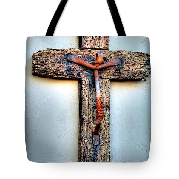Tote Bag featuring the photograph Tubac Cross by Jerry Sodorff