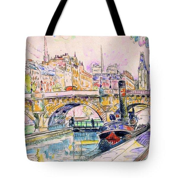 Tugboat At The Pont Neuf, Paris - Digital Remastered Edition Tote Bag