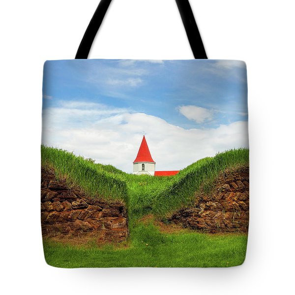 Tote Bag featuring the photograph Turf House And Steeple - Iceland by Marla Craven