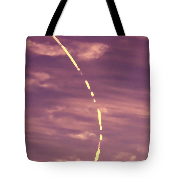 Turning Jet With Broken Contrail Tote Bag