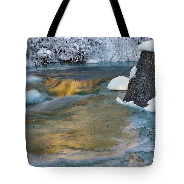 Tote Bag featuring the photograph Turquoise And Gold Cascade by Leland D Howard