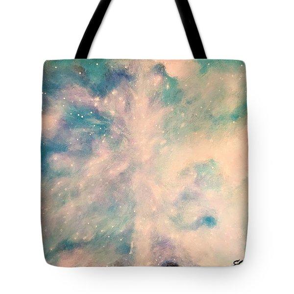 Turquoise Cosmic Cloud Tote Bag