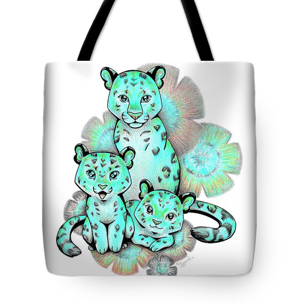 Turquoise Leopards Tote Bag