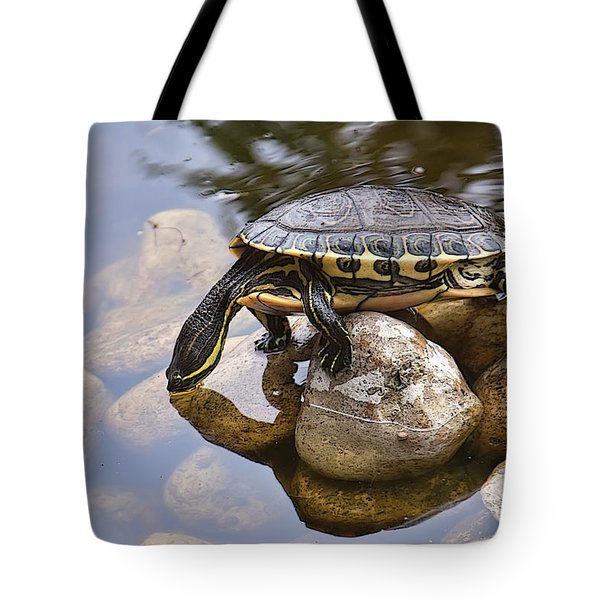 Turtle Drinking Water Tote Bag