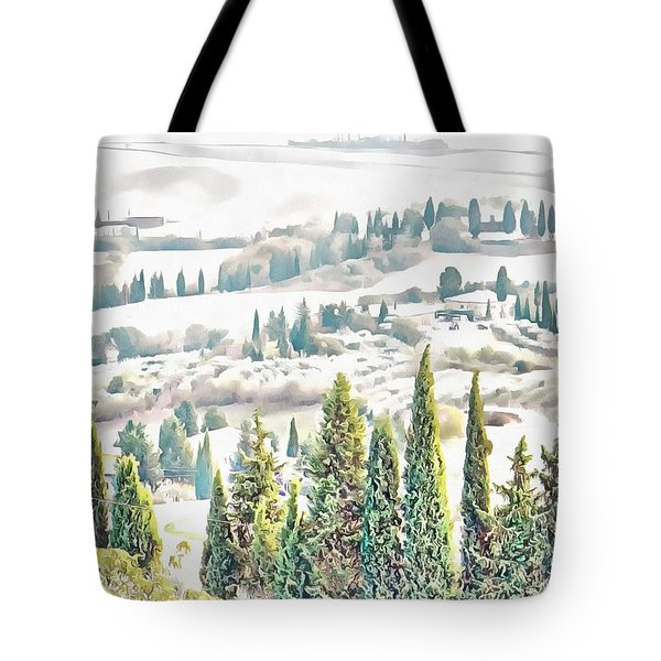 Tote Bag featuring the photograph Tuscan Countryside Near Pienza by Dorothy Berry-Lound