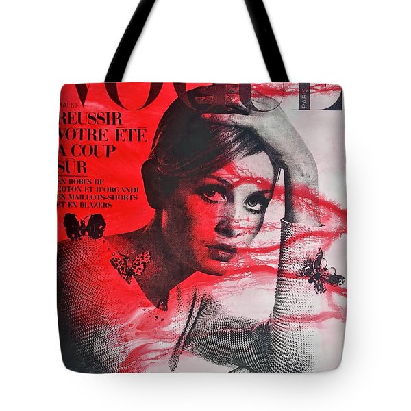 Twiggy In Red Tote Bag