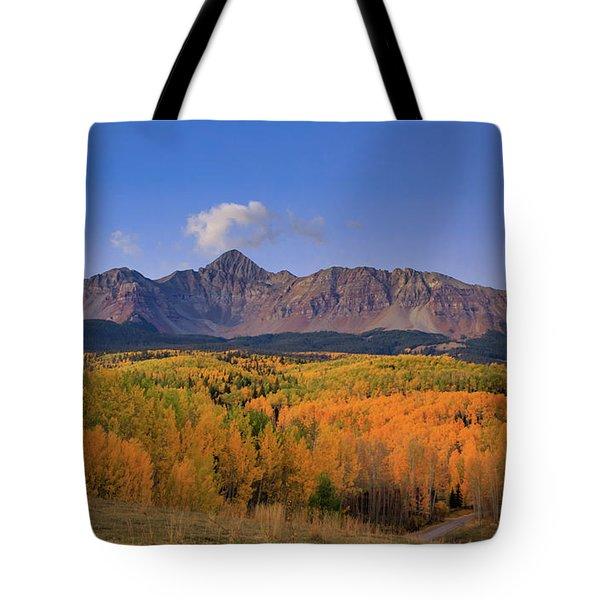 Twilight Falls Upon A Golden Aspen Forest Below Mt. Wilson Tote Bag