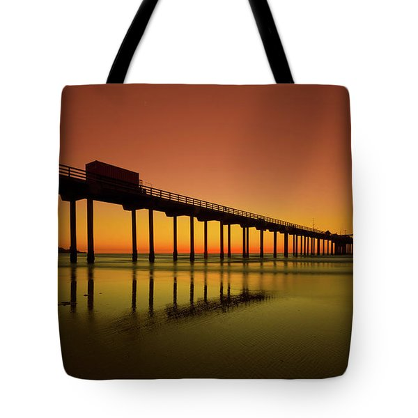 Twilight On The Beach Scripps Pier La Jolla San Diego Ca Tote Bag