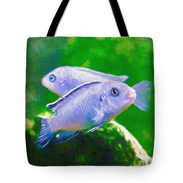 Tote Bag featuring the digital art Twin Blue Zebra Cichlids Pen by Don Northup