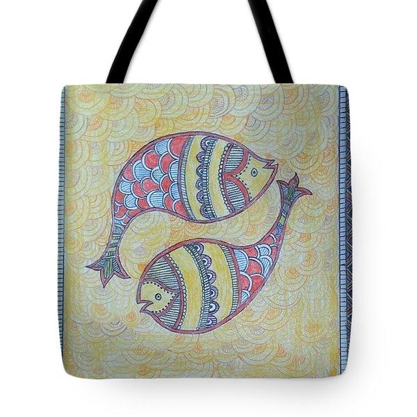 Twin Fish Motifs Tote Bag