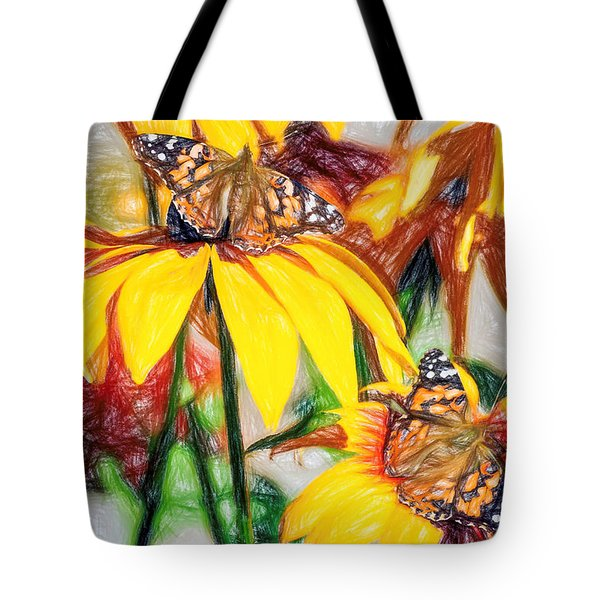 Twin Painted Lady Butterflies Pencil Tote Bag