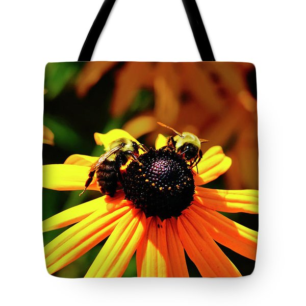 Tote Bag featuring the photograph Two Bees by Meta Gatschenberger