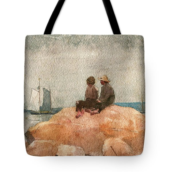 Two Boys Watching Schooners - Digital Remastered Edition Tote Bag