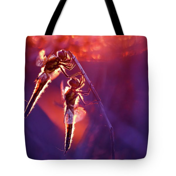 Two Can Keep A Secret - Dragonflies At Sunset Tote Bag