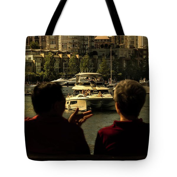 Two Friends At The Vancouver Bay Tote Bag