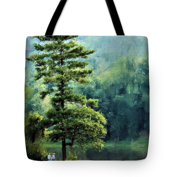 Two Guys And A Pond Tote Bag