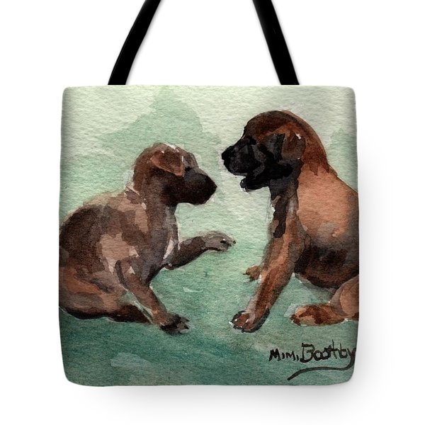 Two Malinois Puppies Tote Bag
