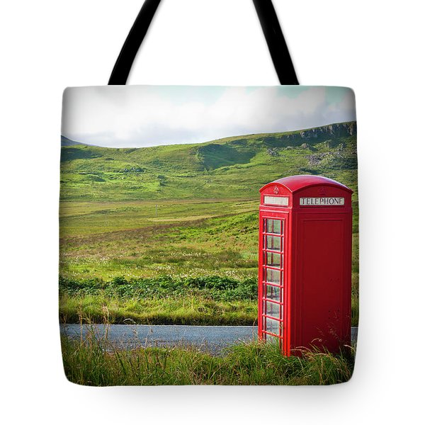 Typical Red English Telephone Box In A Rural Area Near A Road. Tote Bag