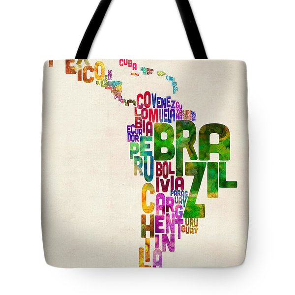 Typography Map Of Latin America, Mexico, Central And South America Tote Bag