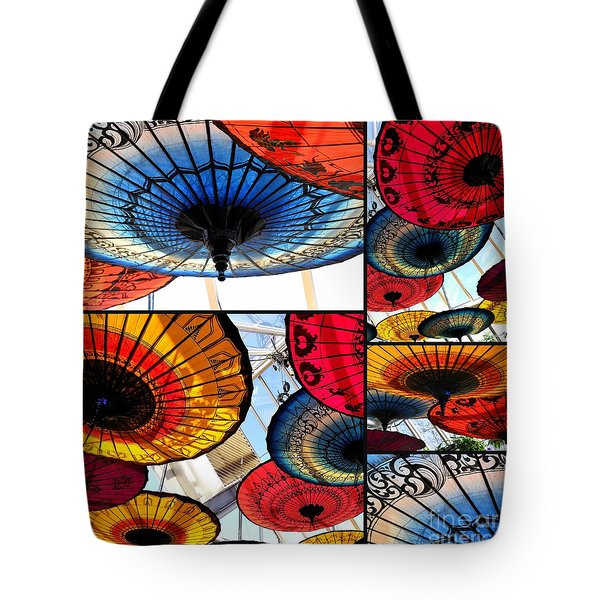 Umbrella Collage Tote Bag