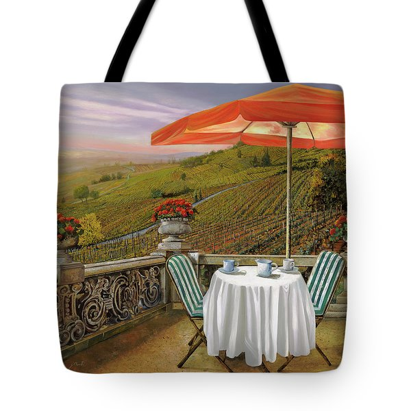 Tote Bag featuring the painting Un Caffe' Nelle Vigne by Guido Borelli