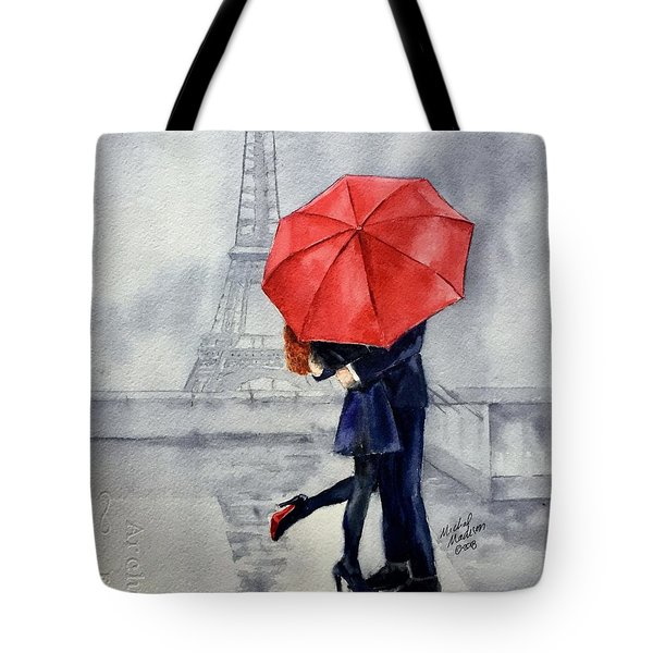 Tote Bag featuring the painting Under A Red Umbrella by Michal Madison