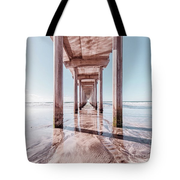 Under The Boardwalk Scripps Pier San Diego Square Tote Bag