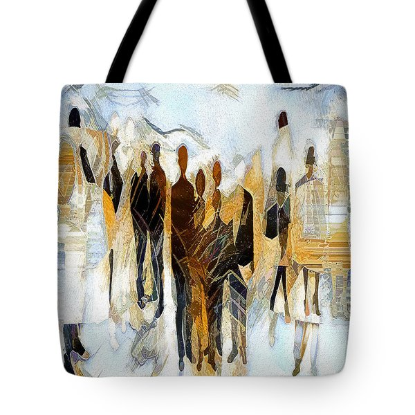 Tote Bag featuring the digital art Us - Neutral Colours by Pennie McCracken