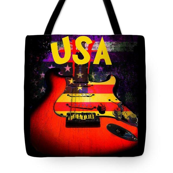 Usa Flag Guitar Purple Stars And Bars Tote Bag