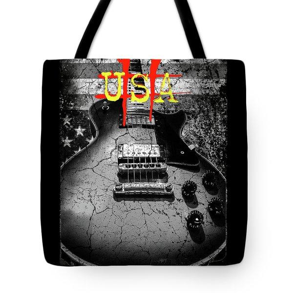 Usa Flag Guitar Relic Tote Bag