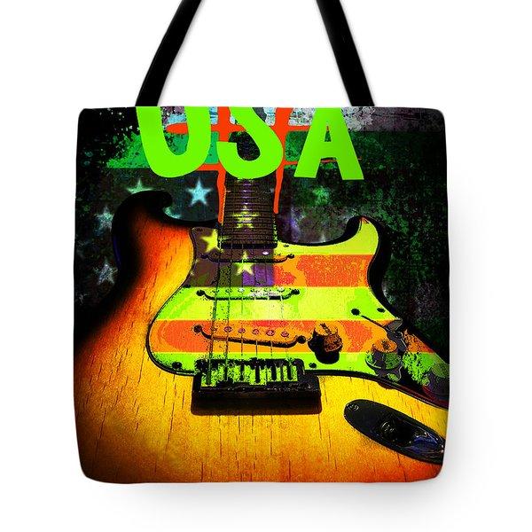 Usa Strat Guitar Music Green Theme Tote Bag