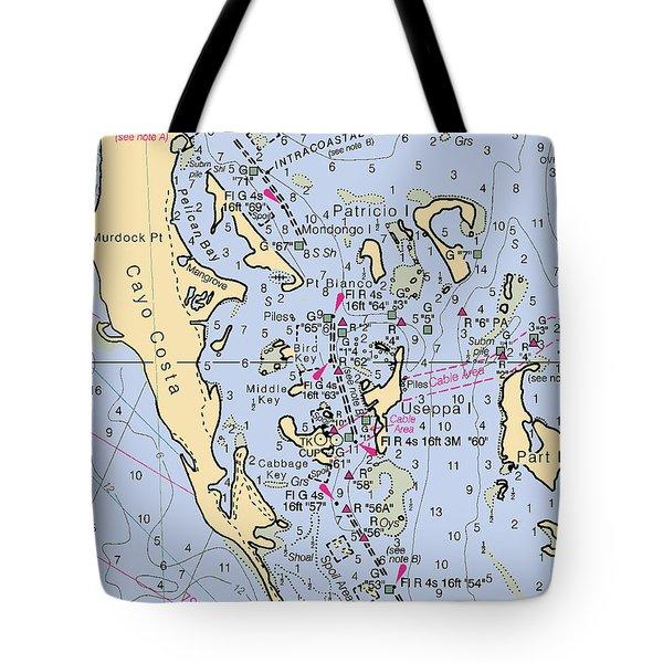 Useppa,cabbage Key,cayo Costa Nautical Chart Tote Bag
