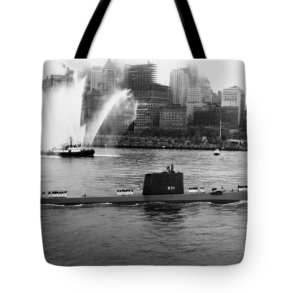 Uss Nautilus Anchored In New York Harbor - 1958 Tote Bag