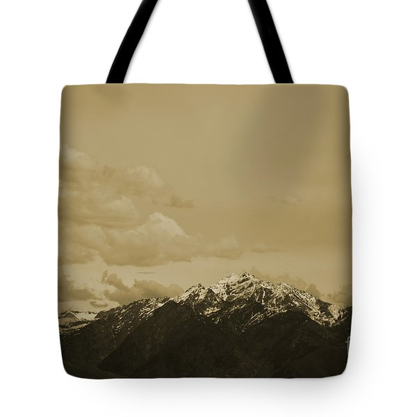 Utah Mountain In Sepia Tote Bag