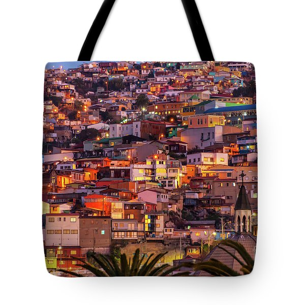 Valparaiso At Night Tote Bag