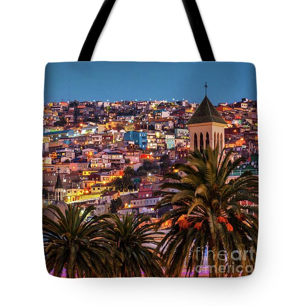 Valparaiso Illuminated At Night Tote Bag