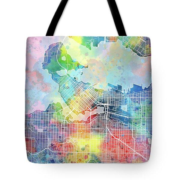 Vancouver Map Watercolor Tote Bag